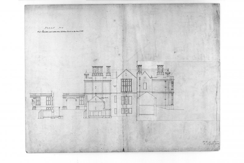 W elevation and section through kitchen court, with inset. Scan of MLD 80/8 flap down