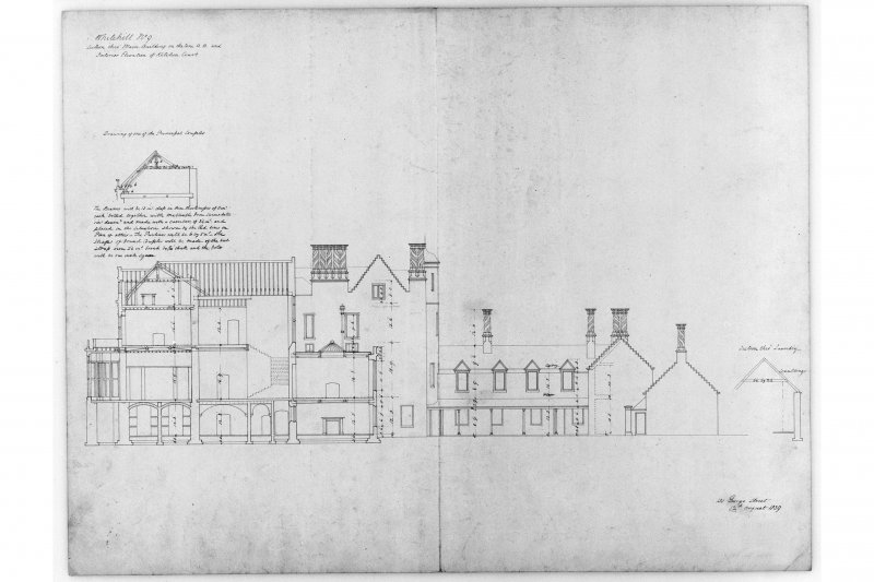 Section through main building and interior elevation of kitchen court.