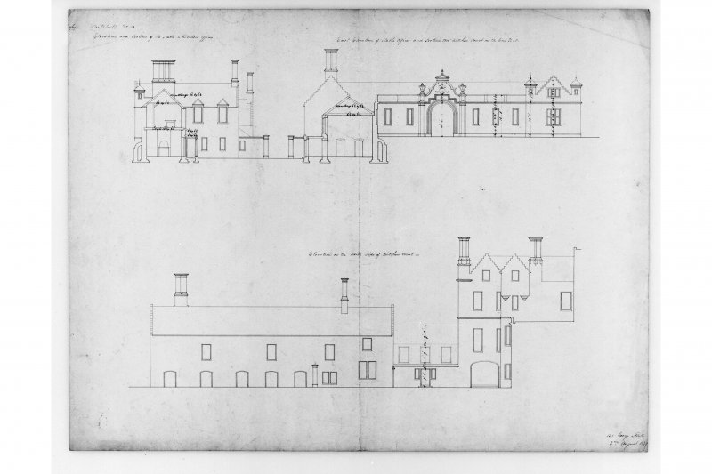 Sections and elevations of stables and kitchen offices.