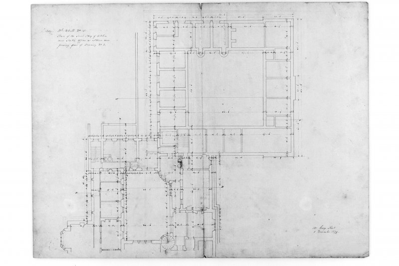 "Plan of sunk storey and stable offices ""as altered""."
