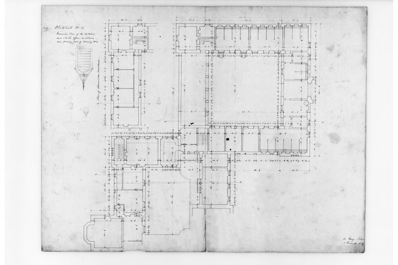 "Ground plan of kitchen and stable offices ""as altered""."