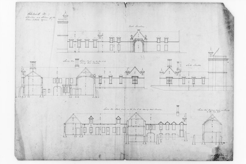 Elevations and sections of kitchen and stable offices.