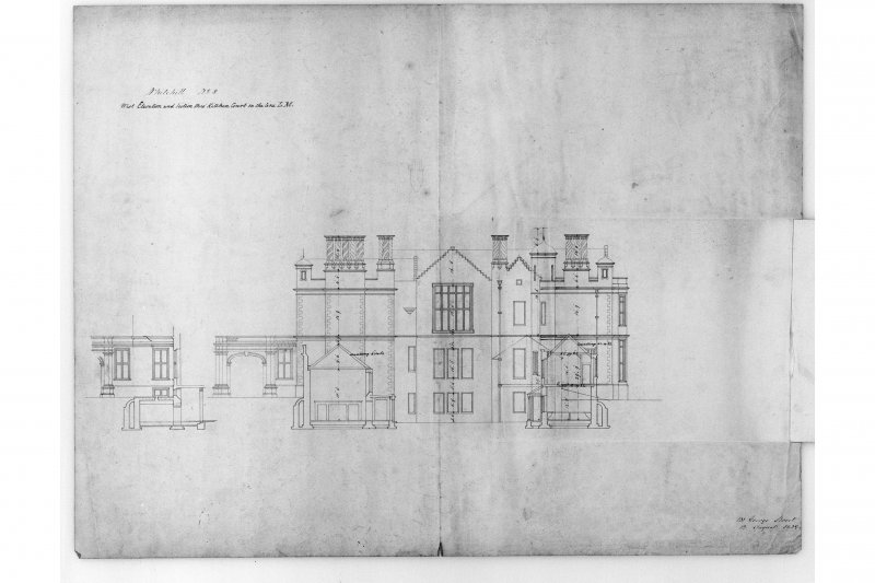 W elevation and section through kitchen court, with inset.