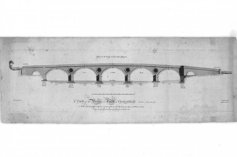 Photographic copy of engraving showing elevation. Titled: 'A view of the Bridge over the Tweed at Colstream. Finished in December 1766.'
