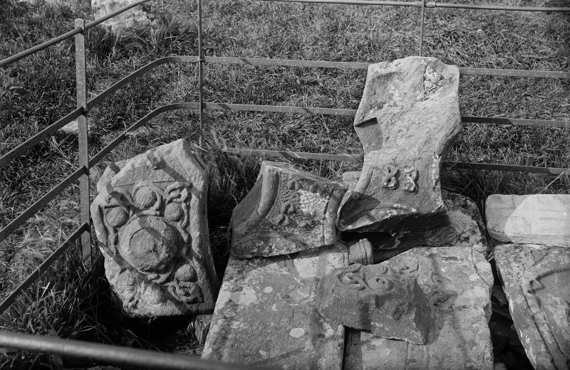 Iona, St John's Cross.  View of fragments.