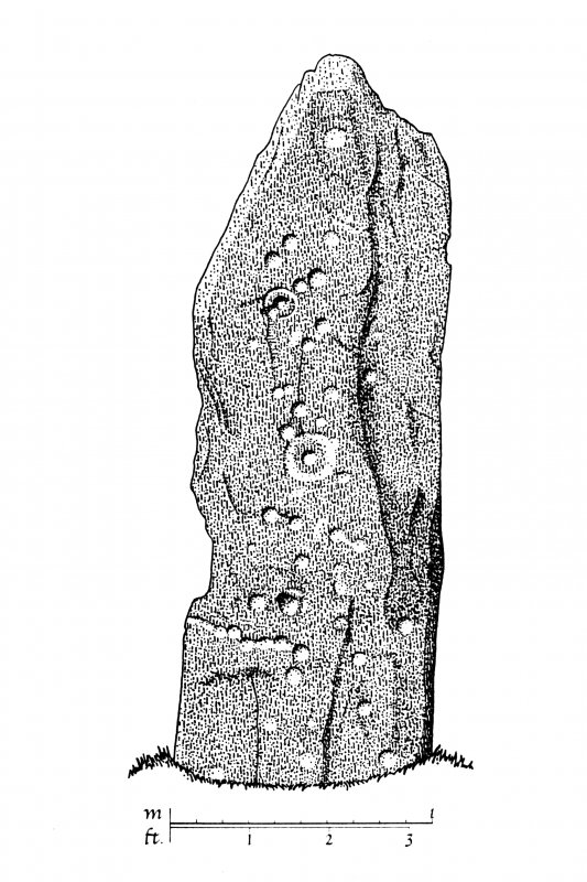 Publication drawing; Ballymeanoch stone (C), SW face. Photographic copy.