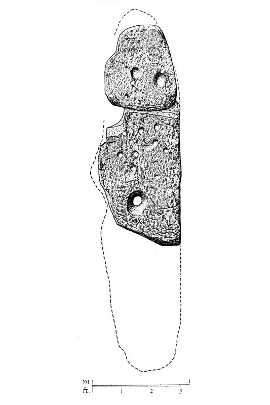 Publication drawing; Ballymeanoch stone (G), E face. Photographic copy.