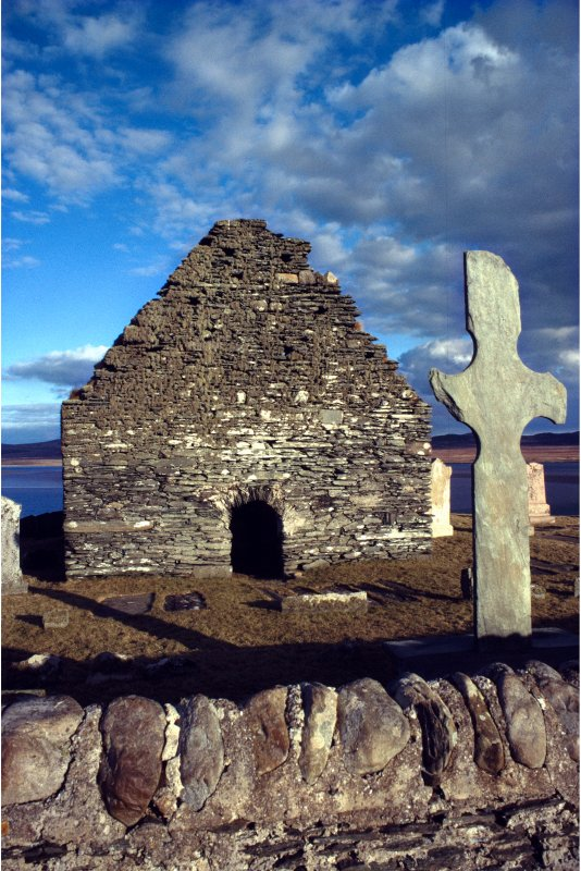 Kilnave chapel, Islay and cross from W. Slide taken by Mr I Fisher, RCAHMS