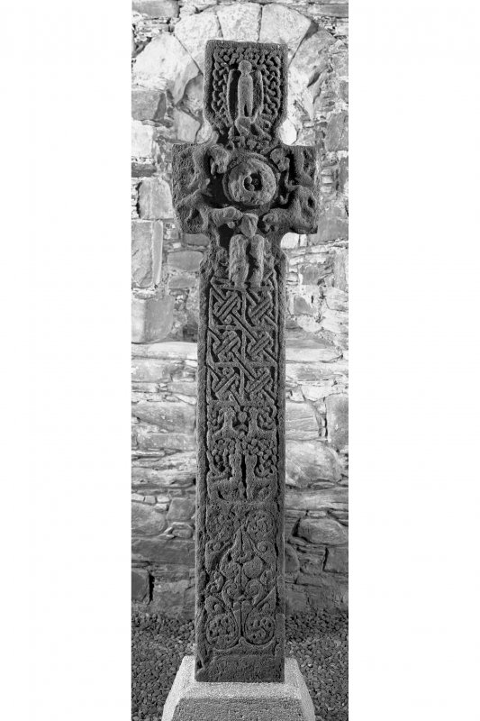 Keills Chapel, Early Christian Cross. General view of main face of cross with flash.