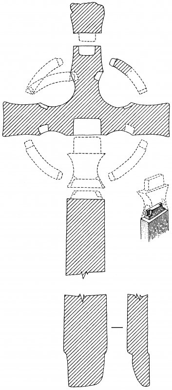 Iona, St Mary's Abbey, St John's Cross. Plan of sections showing construction of cross.
