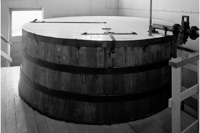 Lagavulin Distillery, Still House. Interior view of wooden-stave intermediate spirit-receiver.