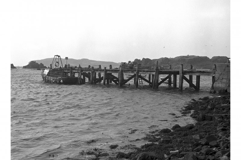 Lagavulin Distillery, Pier. View of Piled Wooden Pier.