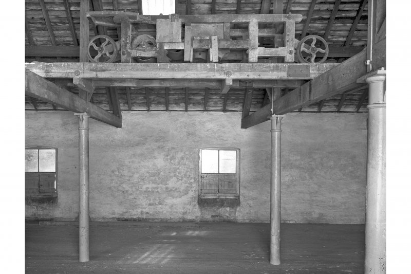 Lagavulin Distillery, Old Malt Barn. Interior view of Barley Bogie in malt-loft.