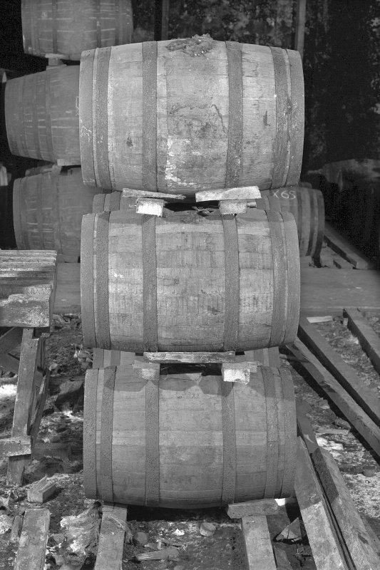 Ardbeg Distillery, Bonded Warehouse. View of example of cask stacking or 'dunnage' ( American Barrels, 40 to 42 gals).