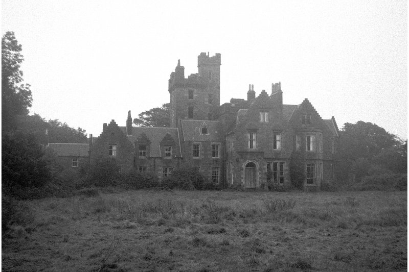 Kildalton House. General view of house front in a derelict state.