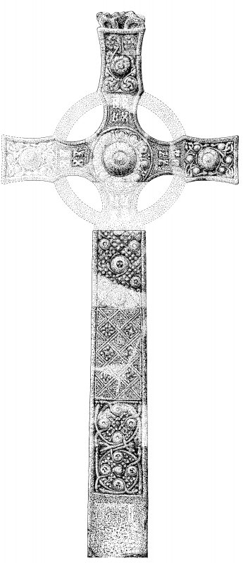 Iona, St Mary's Abbey, St John's Cross. Sketch of East face, partially reconstructed.