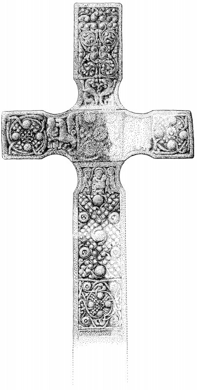 Iona, St Oran's Cross. View of front, partially reconstructed.