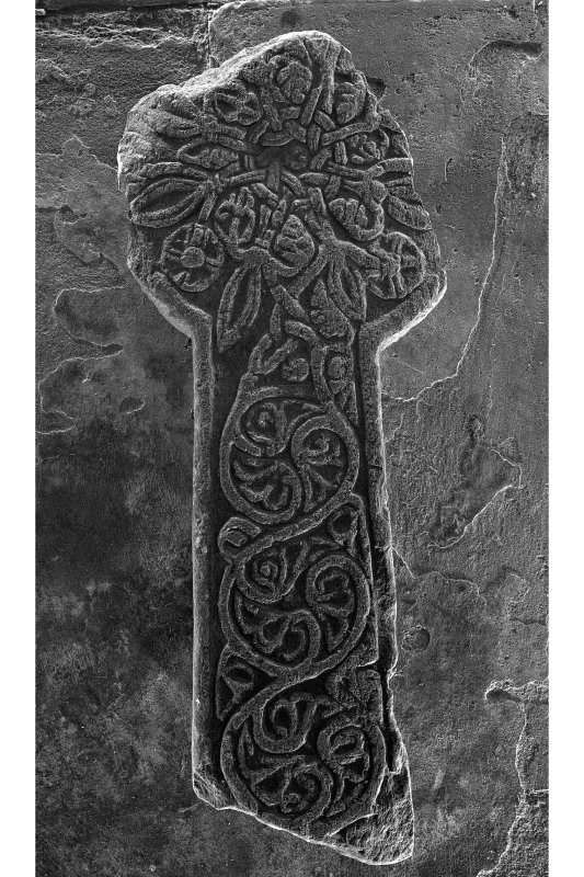 Fragment of cross, Kilchoman Old Parish Church. Detail of fragment of cross (reverse).