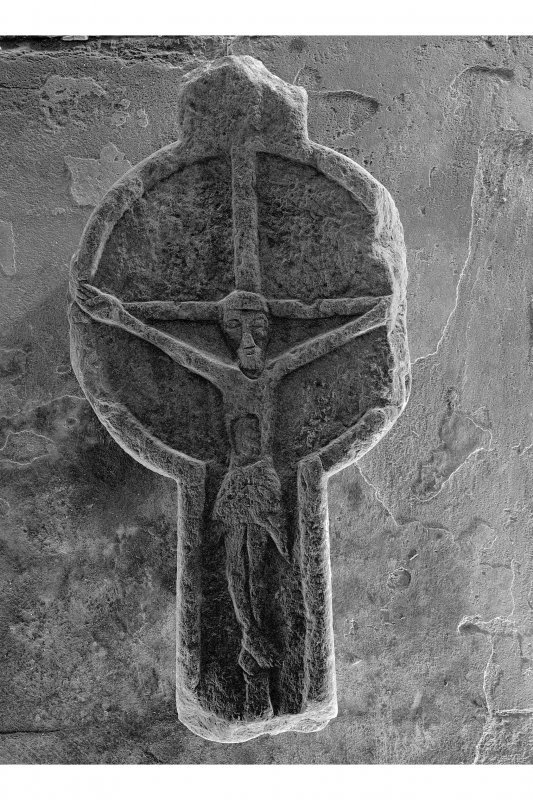 Small cross, Kilchoman Old Parish Church. View of small cross showing crucifixion.