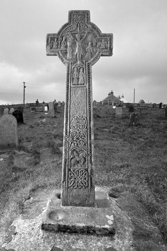 Late Medieval cross, Kilchoman Old Parish Church. View of East face of cross.