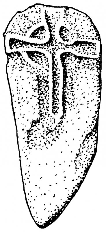 Abbey Museum, Iona. Cross-marked stone (no.63). Redrawn after recovery of stone.
