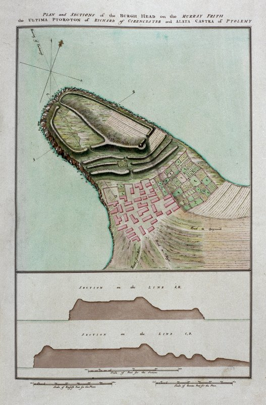 Plan and sections of the Burgh Head on the Murray Frith, the Ultima Ptoroton of Richard of Cirencester and Alta Castra of Ptolemy. Plate XXXIII from 'Military Antiquities of the Romans in Britain'.