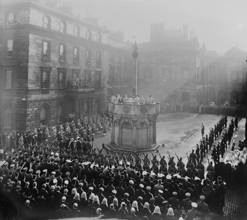 Copy of photograph of Proclamation at Mercat cross, not the same ceremony as sc 1223391 etc.
