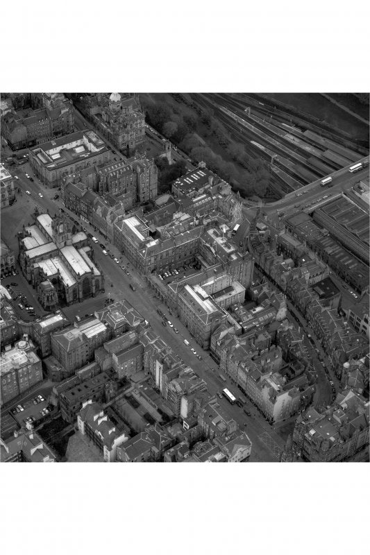 Edinburgh. Oblique aerial view showing High Street between North Bridge and Lawnmarket, with St Giles' Cathedral on left and City Chambers on right.