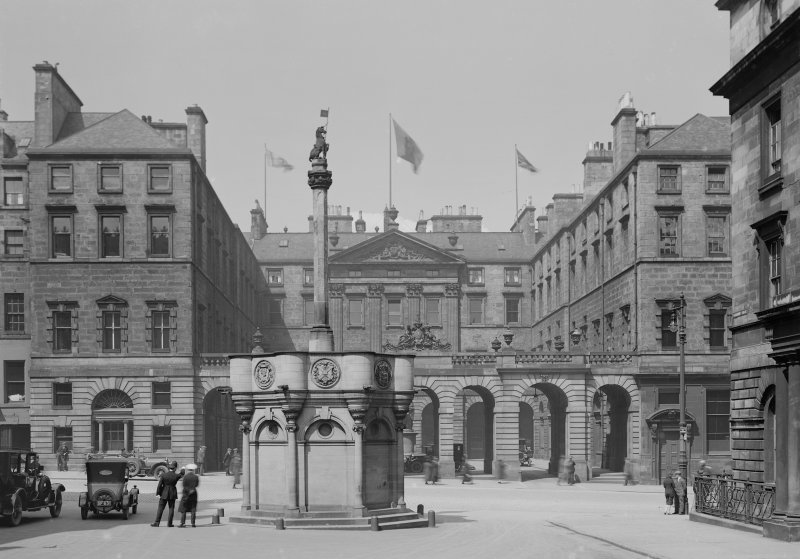 View of Market Cross with City Chambers in background, High Street, Edinburgh.