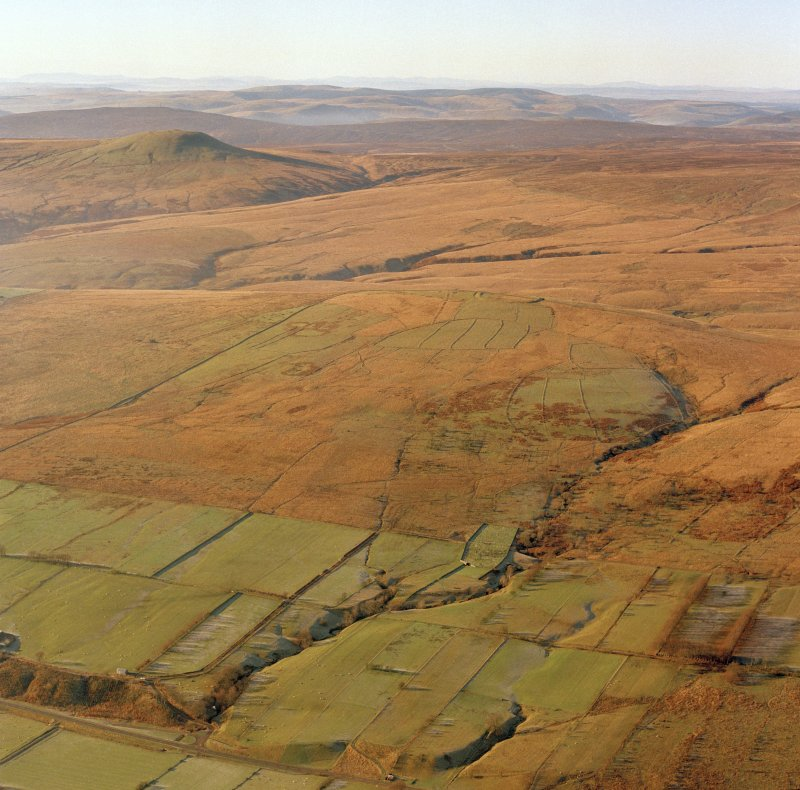 General oblique aerial view of Ettleton Sike centred on the burial-ground, taken from the E.