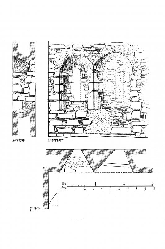 Chapel, Nave Island, Islay. Photographic copy of survey drawing of South window, plan, elevation and section.