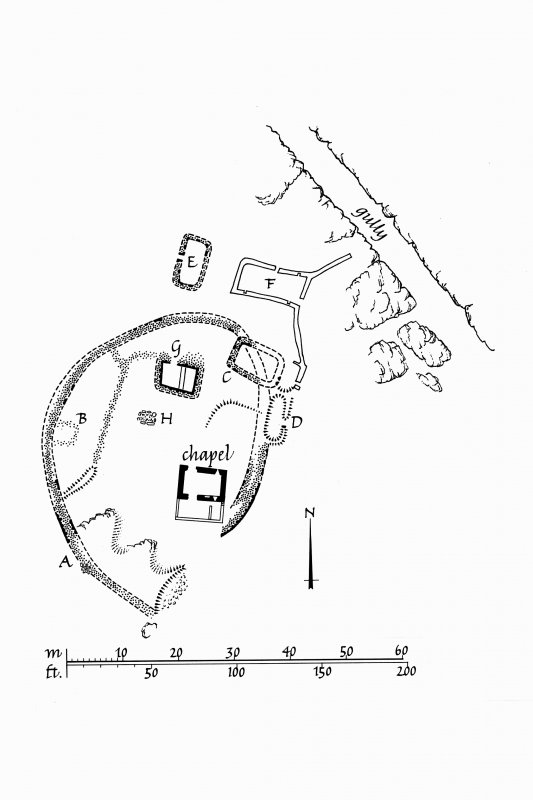 Chapel, Nave Island, Islay. Copy of survey drawing of plan of site. Titled: 'Site Plan, Nave Island'. Ink. Scale 1:400.