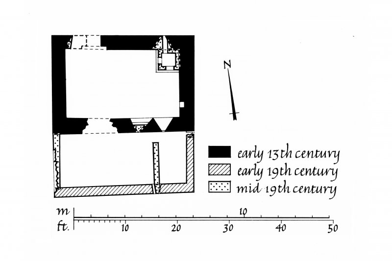 Nave Island, Chapel. Copy of ground floor plan. Ink, paper. Scale 1:100