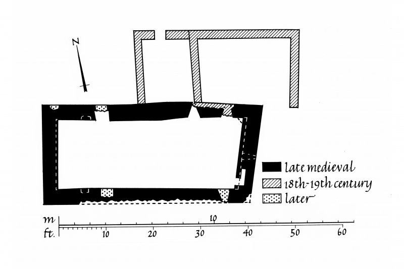 Kilnaughton Chapel and Burial Ground, Kilnaughton. Photographic copy of plan with walls shaded according to date of construction.