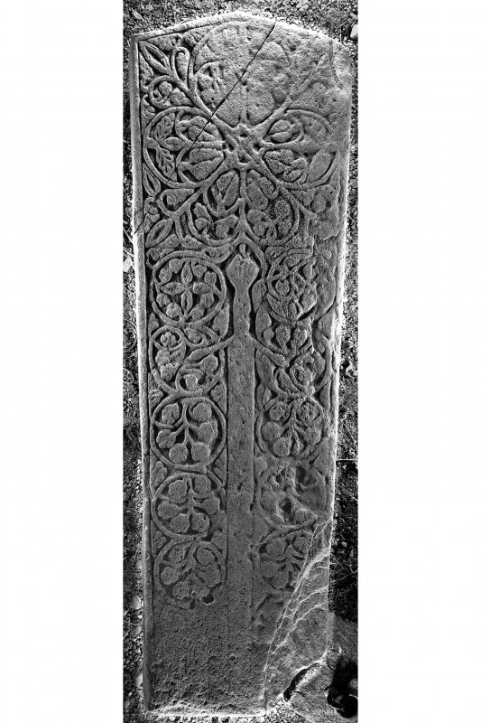 West Highland graveslab (KK4), Kilnaughton Old Parish Church. View of graveslab from above.