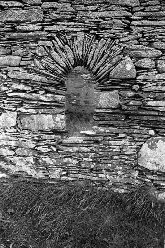 Kilnave Chapel, Kilnave, Loch Gruinart. View of exterior of West window.