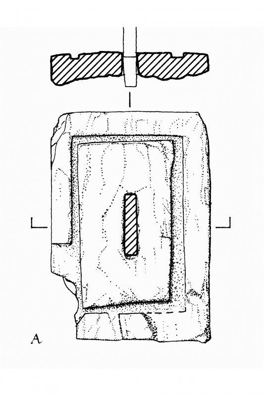 Cross base slabs, Kilnave Church, Kilnave. Photographic copy of drawing of cross base slabs. Ink on paper. Scale 1:20