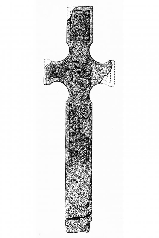 Cross, Kilnave Church, Kilnave. Photographic copy of drawing of cross. Ink on triplex. Scale 1:10