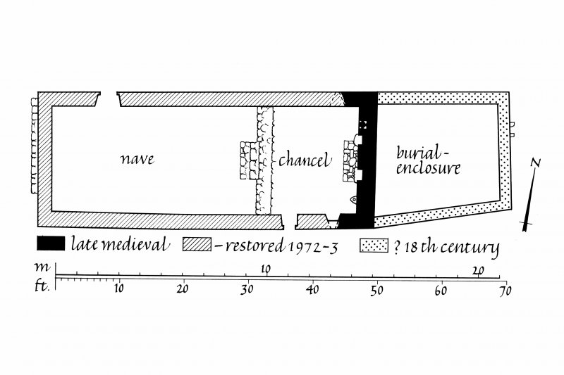 Kilchiaran Chapel, Kilchiaran. Photographic copy of ground floor plan with walls shaded according to date of construction.  Ink. Scale 1:100m