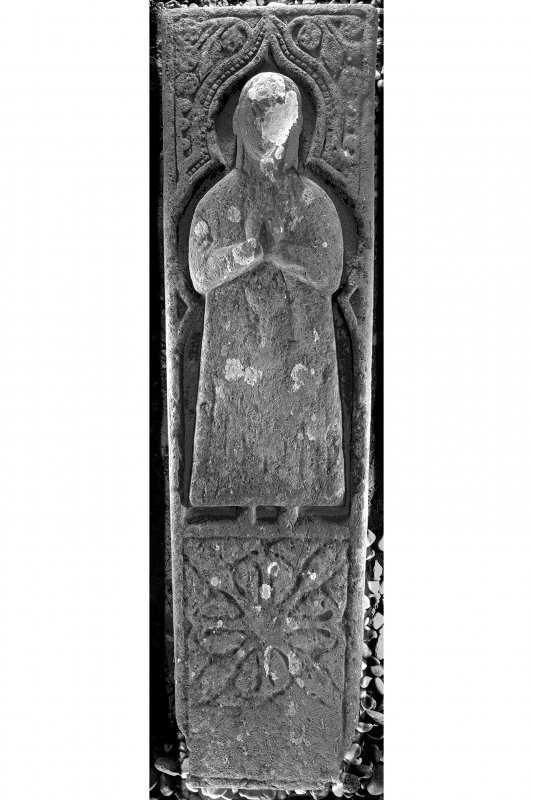 West Highland Effigy of priest (KH2), Kilchiaran Chapel, Kilchiaran. View of effigy from above.