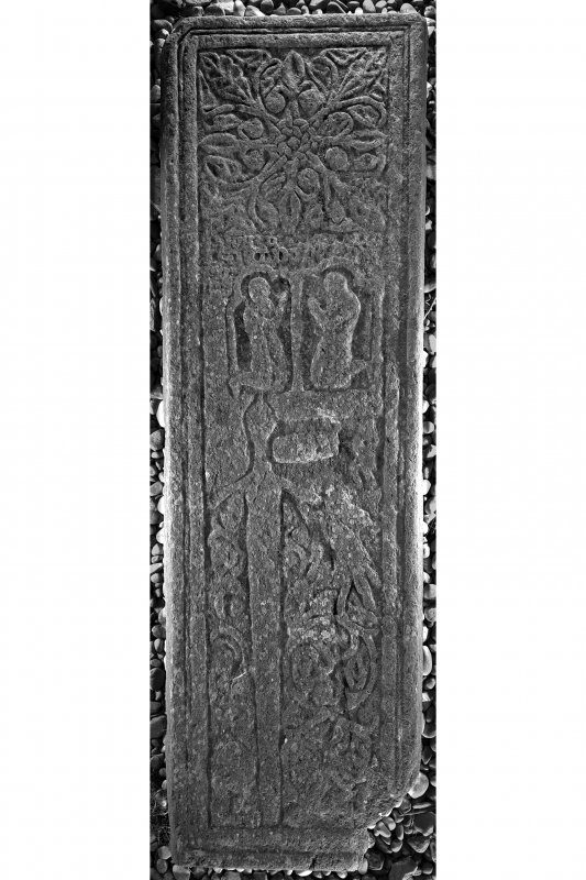 West Highland graveslab  (KH8), Kilchiaran Chapel, Kilchiaran. View of graveslab from above.