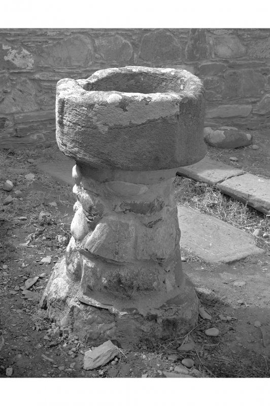Chapel font, Kilchiaran Chapel, Kilchiaran. View of chapel font within remains.