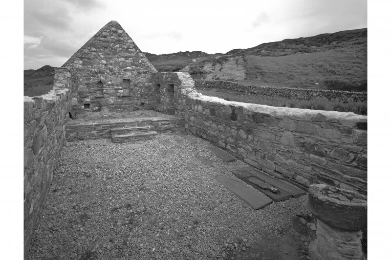 Kilchiaran Chapel, Kilchiaran. View of interior of remains from West.