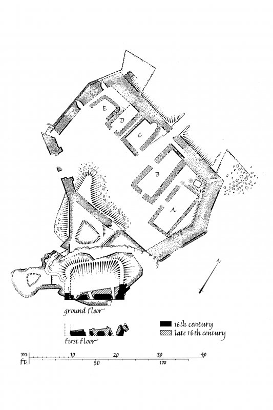 Dunyvaig Castle, Lagavulin Bay, Islay. Copy of publication drawing of ground floor plan. Ink. Scale 1:200