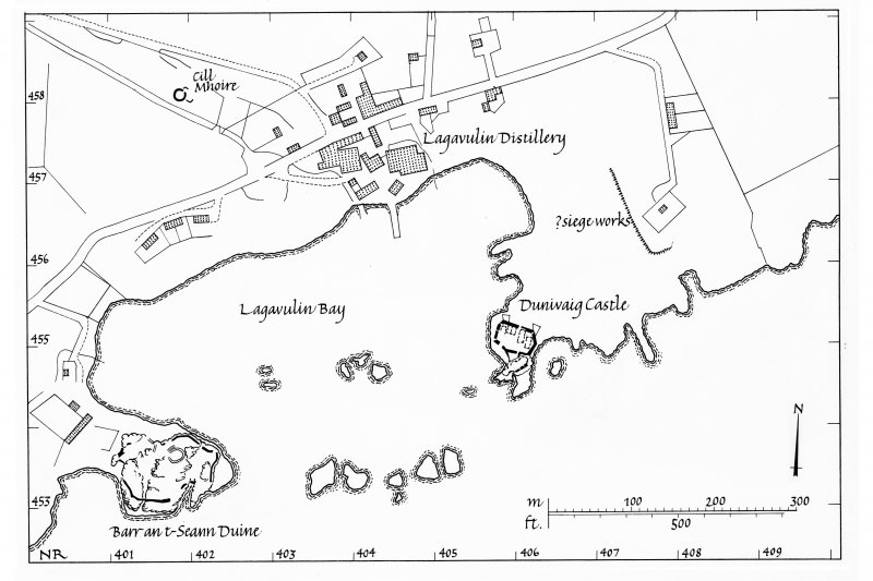 Dunyvaig Castle, Lagavulin Bay, Islay. Copy of publication map showing location. Ink. Scale 1:1000