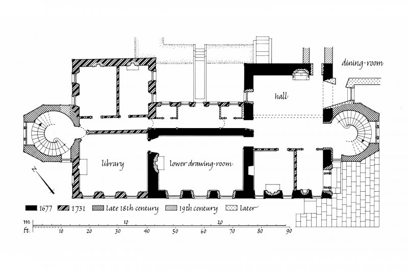 Plan, Islay House, Islay. Copy of plan showing differing dates of construction.