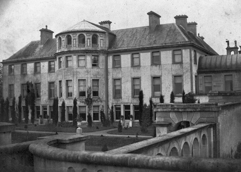 Copy of historic photograph showing view from E before additions in 1863, showing original entrance to Georgian house.