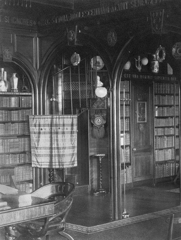 Copy of historic photograph showing view of library.