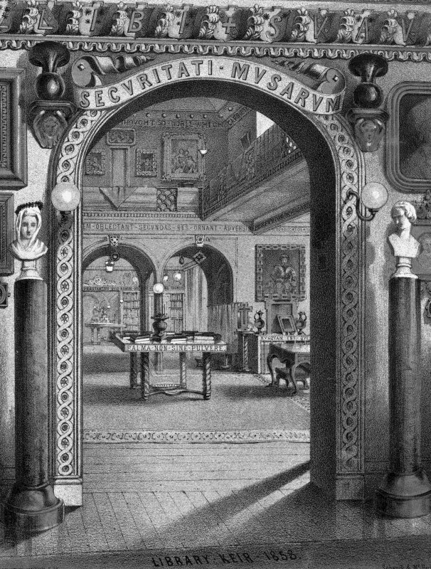 Photographic copy of lithograph showing view of library.