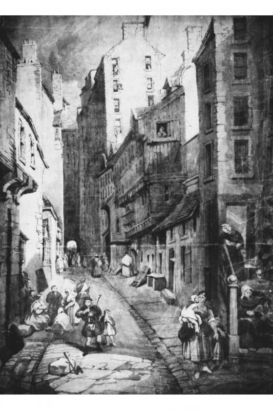 Photograph of drawing/painting showing general view of Fleshmarket Close in Mid 19th Century